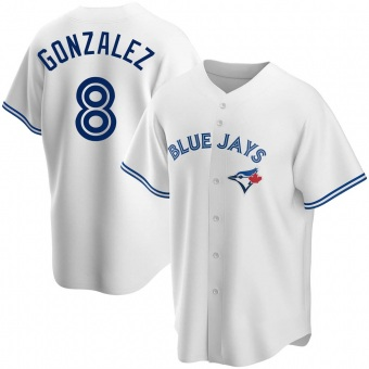 Men's Alex Gonzalez Toronto White Replica Home Baseball Jersey (Unsigned No Brands/Logos)