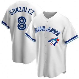 Men's Alex Gonzalez Toronto White Replica Home Cooperstown Collection Baseball Jersey (Unsigned No Brands/Logos)