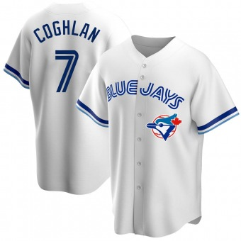 Men's Chris Coghlan Toronto White Replica Home Cooperstown Collection Baseball Jersey (Unsigned No Brands/Logos)