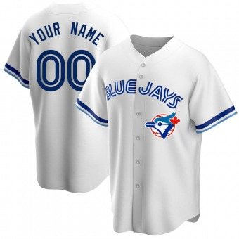 Men's Custom Toronto White Replica Home Cooperstown Collection Baseball Jersey (Unsigned No Brands/Logos)