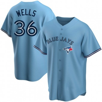 Men's David Wells Toronto Blue Replica Powder Alternate Baseball Jersey (Unsigned No Brands/Logos)