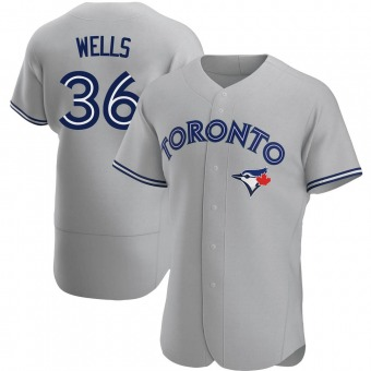 Men's David Wells Toronto Gray Authentic Road Baseball Jersey (Unsigned No Brands/Logos)