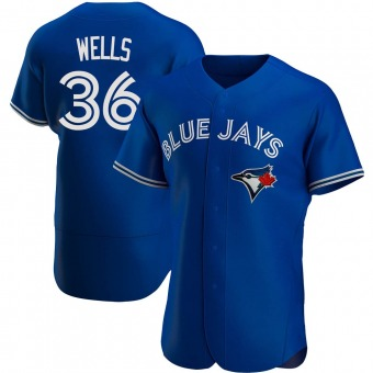 Men's David Wells Toronto Royal Authentic Alternate Baseball Jersey (Unsigned No Brands/Logos)
