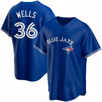 Men's David Wells Toronto Royal Replica Alternate Baseball Jersey (Unsigned No Brands/Logos)