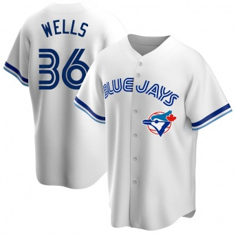 Men's David Wells Toronto White Replica Home Cooperstown Collection Baseball Jersey (Unsigned No Brands/Logos)