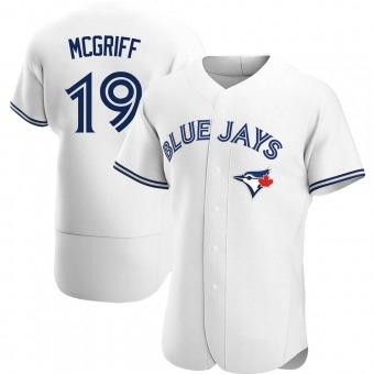 Men's Fred Mcgriff Toronto White Authentic Home Baseball Jersey (Unsigned No Brands/Logos)