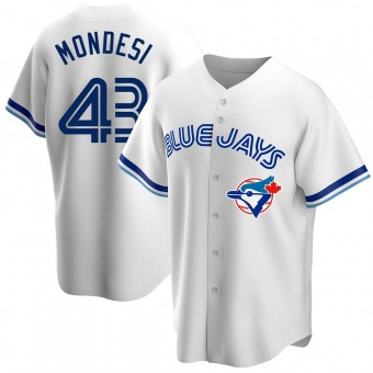 Men's Raul Mondesi Toronto White Replica Home Cooperstown Collection Baseball Jersey (Unsigned No Brands/Logos)