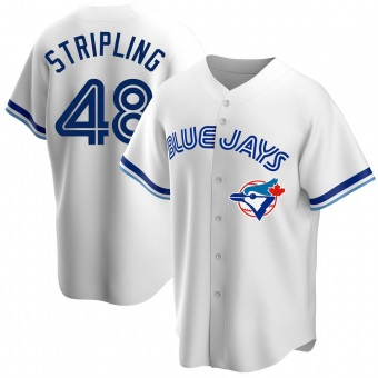 Men's Ross Stripling Toronto White Replica Home Cooperstown Collection Baseball Jersey (Unsigned No Brands/Logos)