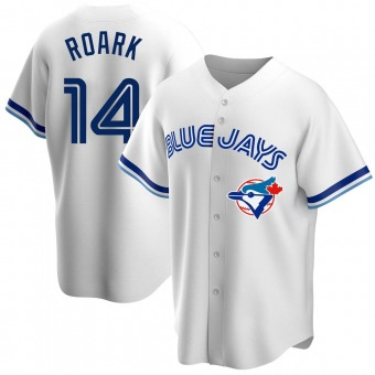 Men's Tanner Roark Toronto White Replica Home Cooperstown Collection Baseball Jersey (Unsigned No Brands/Logos)