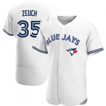 Men's T.J. Zeuch Toronto White Authentic Home Baseball Jersey (Unsigned No Brands/Logos)