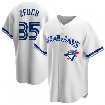 Men's T.J. Zeuch Toronto White Replica Home Cooperstown Collection Baseball Jersey (Unsigned No Brands/Logos)