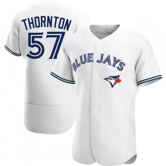 Men's Trent Thornton Toronto White Authentic Home Baseball Jersey (Unsigned No Brands/Logos)