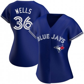 Women's David Wells Toronto Royal Authentic Alternate Baseball Jersey (Unsigned No Brands/Logos)
